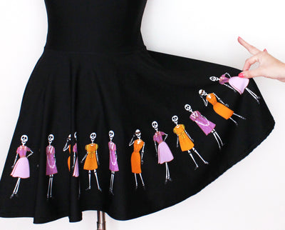 Fashionable Skeletons black skater dress
