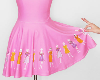 Fashionable Skeletons pink skater dress