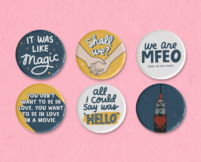 Sleepless in Seattle button or magnet set