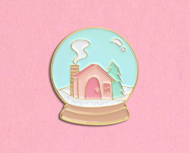 Snow globe enamel lapel pin
