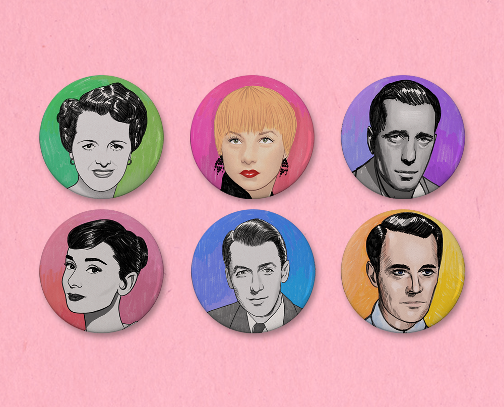 Classic movie star button or magnet set (you pick six!)