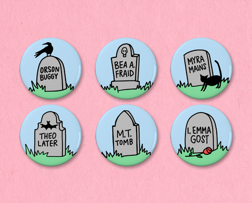 Punny headstones button set
