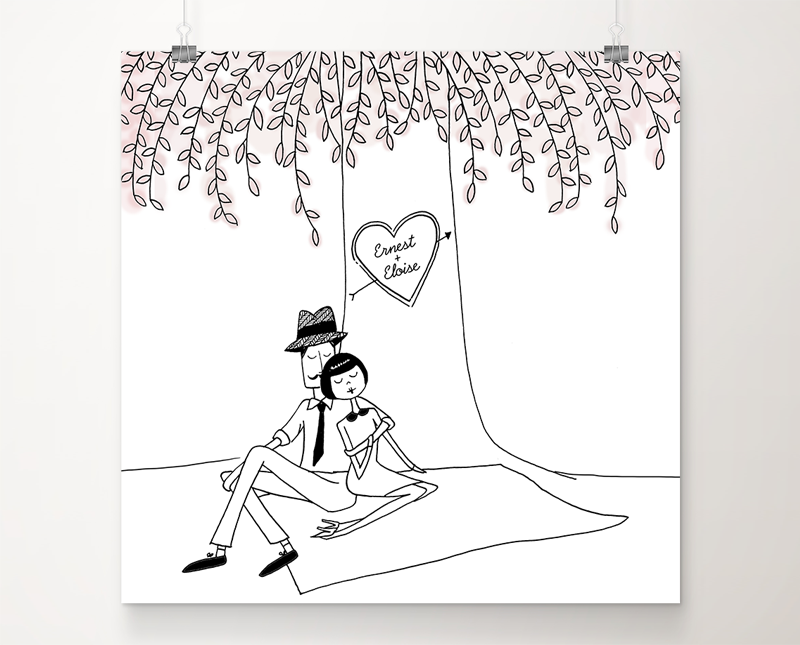 Custom Sweethearts art print