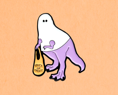 Trick or Treating T-Rex Ghost enamel lapel pin