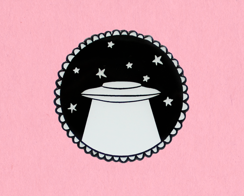 Glow in the dark UFO enamel lapel pin