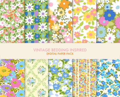 Vintage bedding digital paper pack