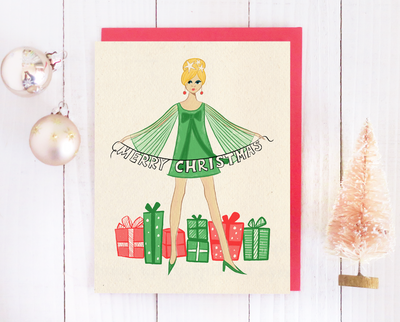Mod girl Christmas card set