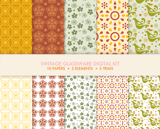 Vintage glassware digital kit