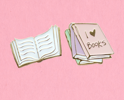 Bookworm enamel lapel pin set