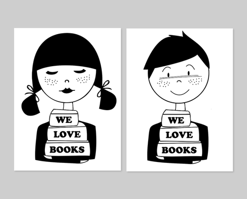 We Love Books art print set