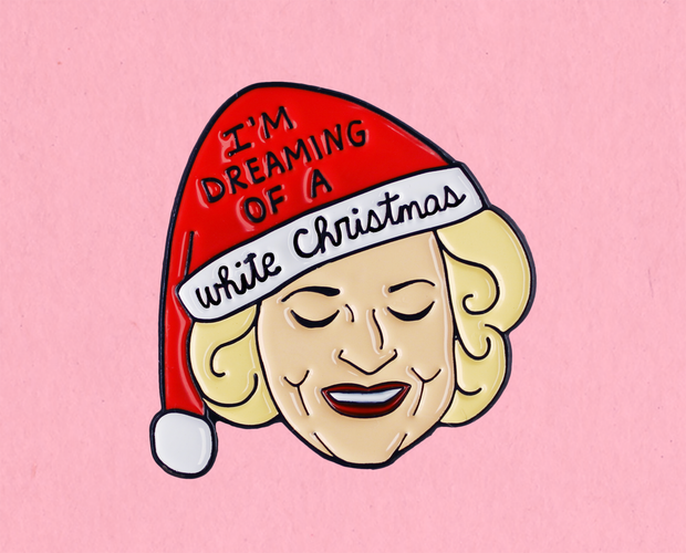 Betty White Christmas enamel lapel pin