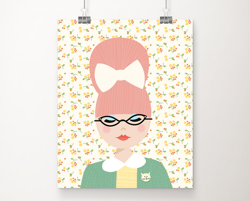 Wilma dreamed of cats and books art print