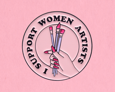I support women artists enamel lapel pin