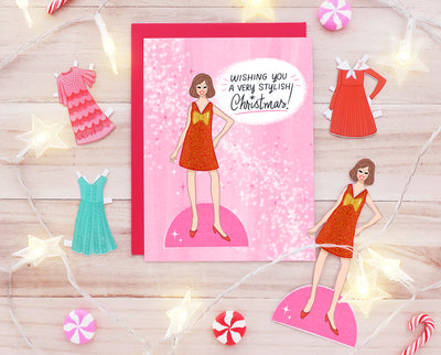 Paper doll Christmas card set