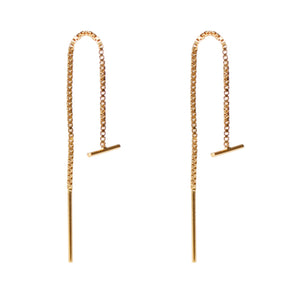 Bar Threader Earrings in Gold