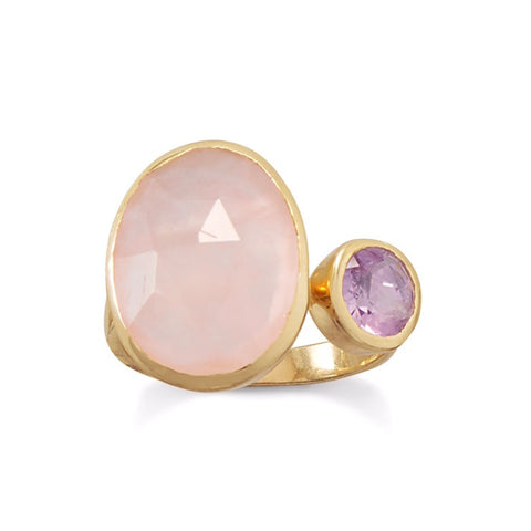 Rose Quartz & Amethyst Ring