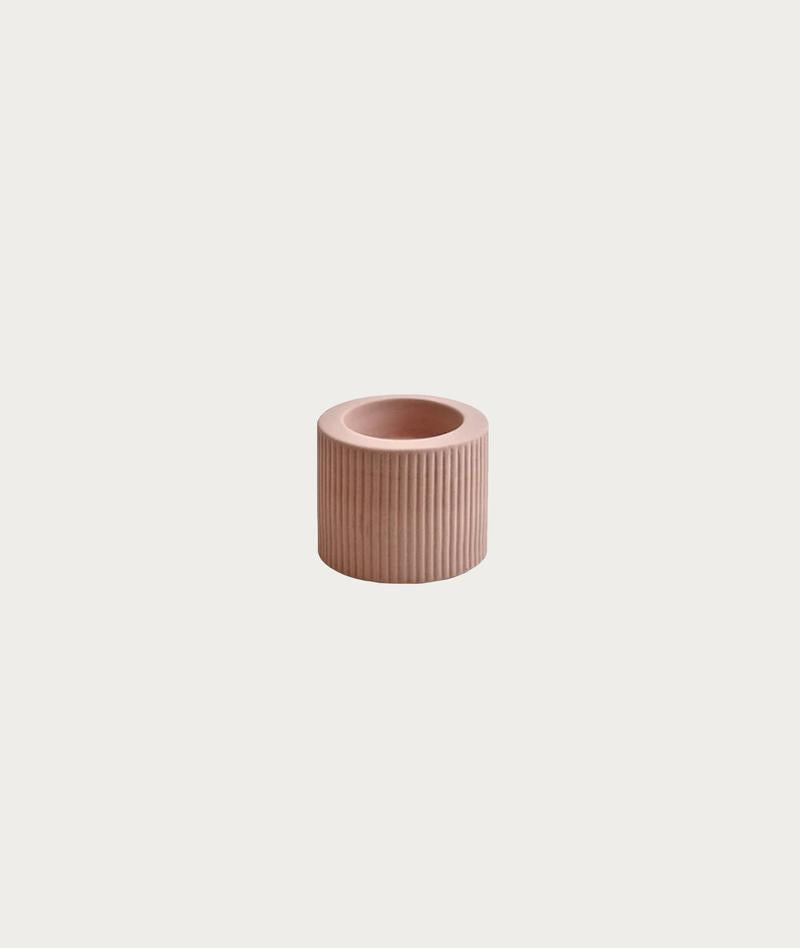 RIBBED INFINITY CANDLE HOLDER | OCHRE | SMALL