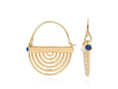 Miami Circle Earrings - Gold & Lapis