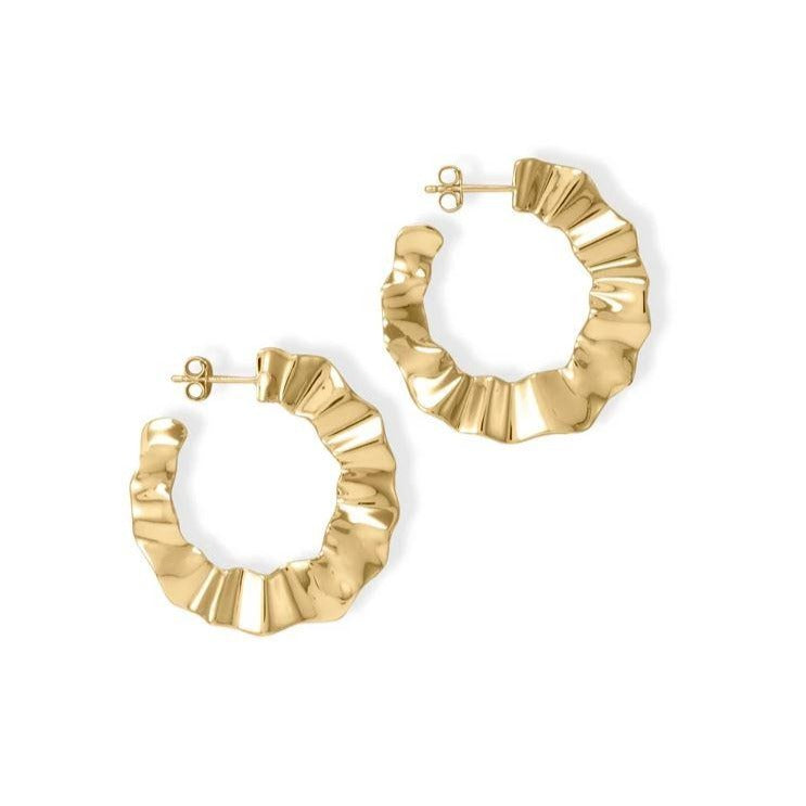 Waves Hoop Earrings | Gold