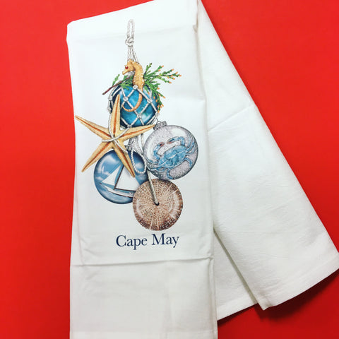 Cape May Nautical Ornaments Kitchen Towel