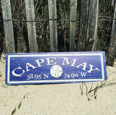 Cape May Coordinates Wooden Sign