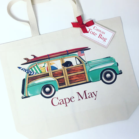 CAPE MAY SURF WAGON CANVAS TOTE BAG