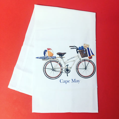 Cape May Beach Bike Kitchen Towel