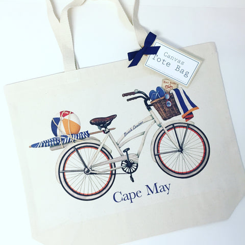 CAPE MAY WHITE BIKE CANVAS TOTE BAG