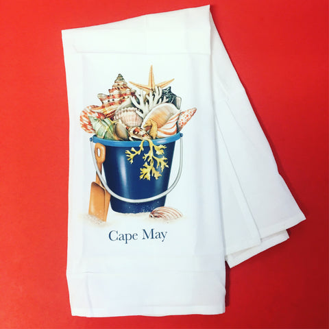 Cape May Shell Bucket Kitchen Towels