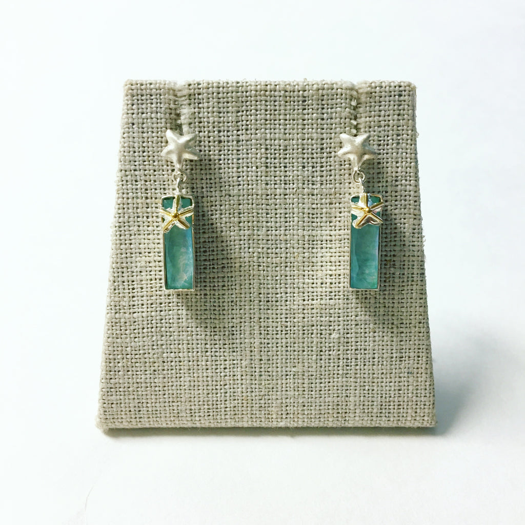 Michou Amazonite Bar Earrings