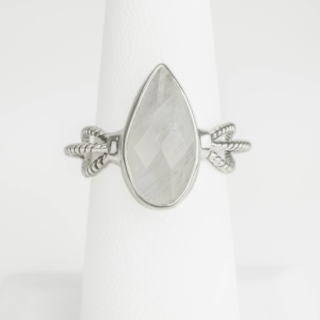 Pear Moonstone Roping Ring