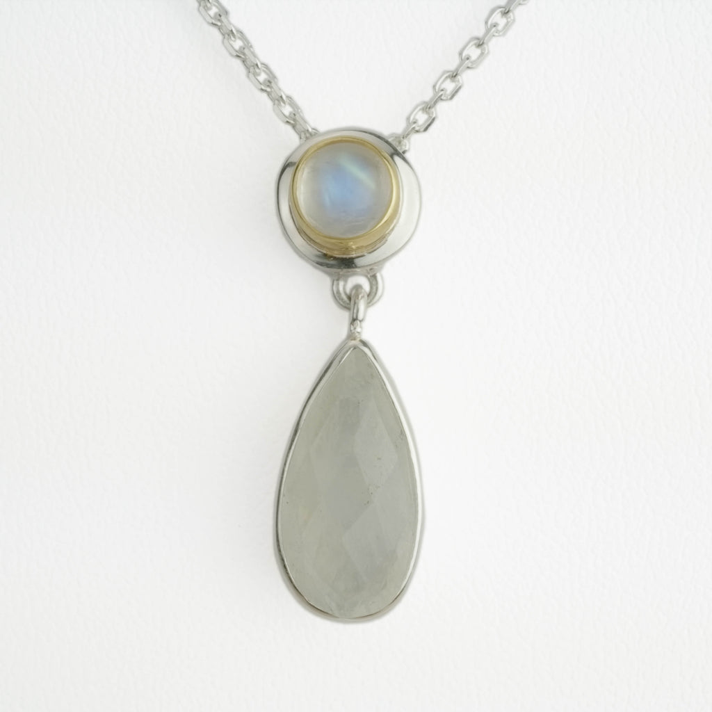 Pear & Round Moonstone Drop Necklace