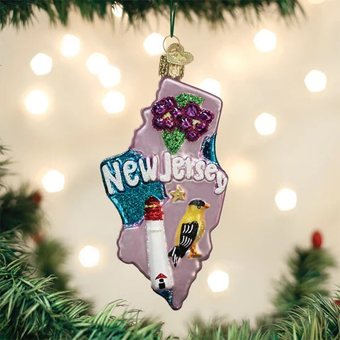 New Jersey State Glass Ornament