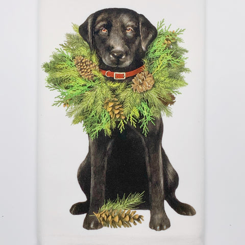 Lab with Wreath Dish Towel