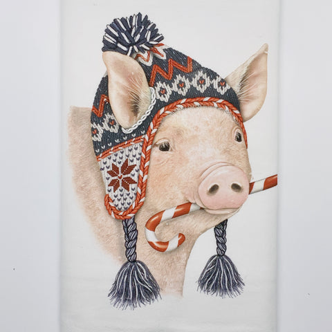 Pig Snow Dish Towel