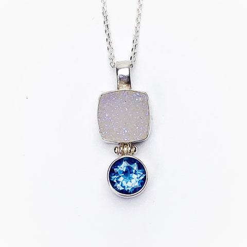 Druzy and Blue Topaz Pendant