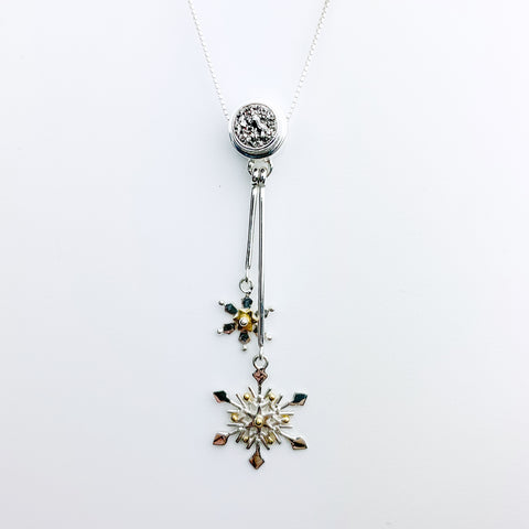 Michou- Gray Druzy Snowflake Dangle Necklace