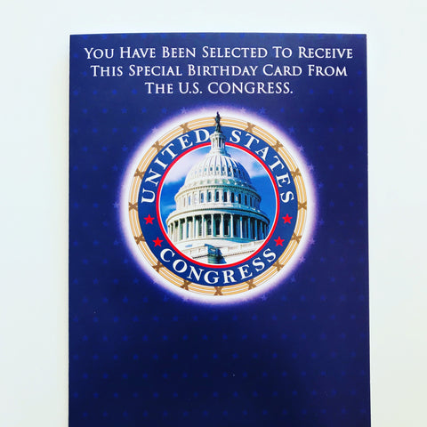 CARD FROM US CONGRESS