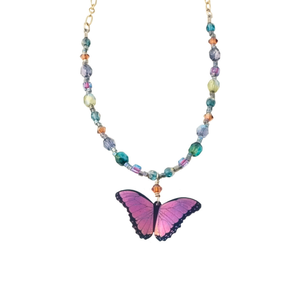 Violet Beaded Butterfly Necklace