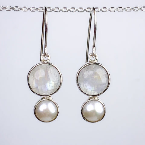 Moonstone and Pear Earrings