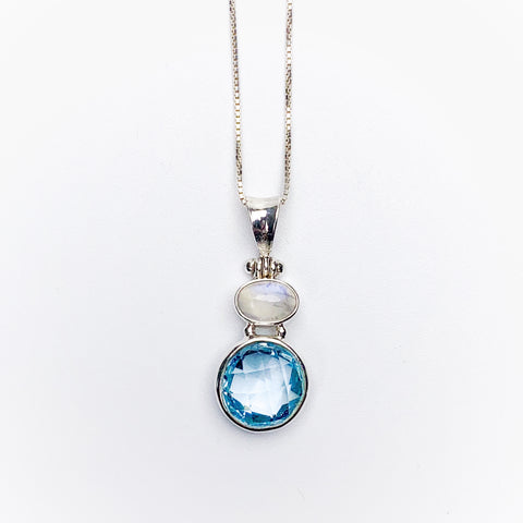 Moonstone and Blue Topaz Pendant