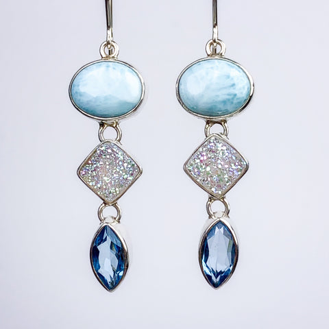 Larimar, Druzy, and Blue Topaz Earrings