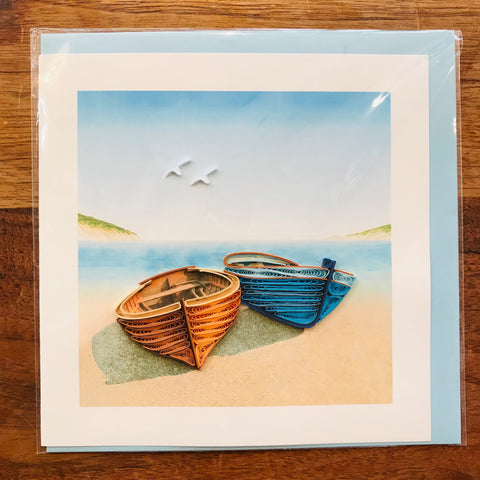 Boats on Shore Greeting Card