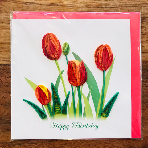 Red Tulips Birthday Card