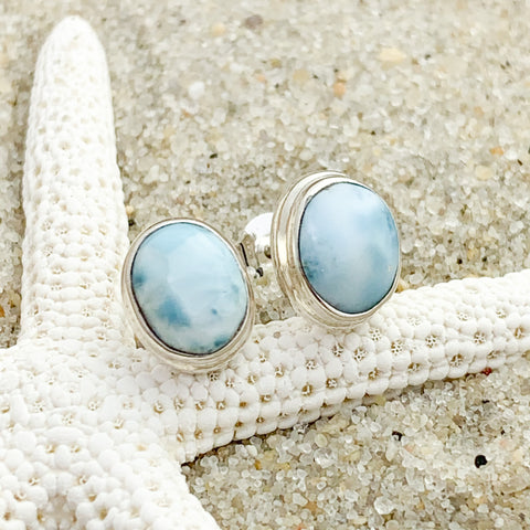 Larimar Oval Stud Earrings