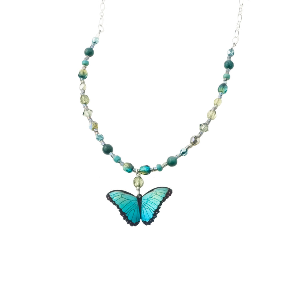GREEN BUTTERFLY BEADED NECK