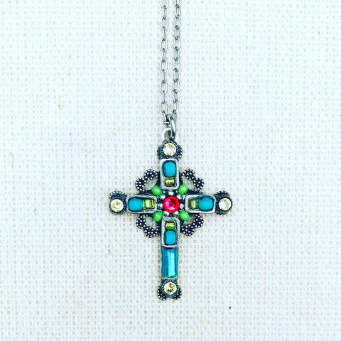 MEDIUM ORNATE CROSS NECK - M/C