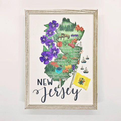 New Jersey State Map- Framed