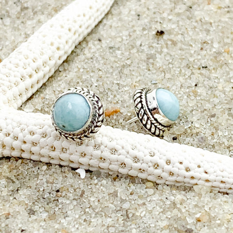 Larimar Round Stud Earrings