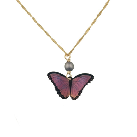 Violet Butterfly Necklace